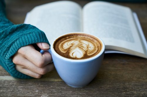 book coffee photo