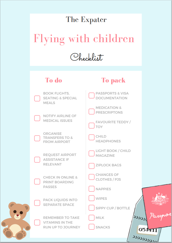 Flying with toddlers chcklist