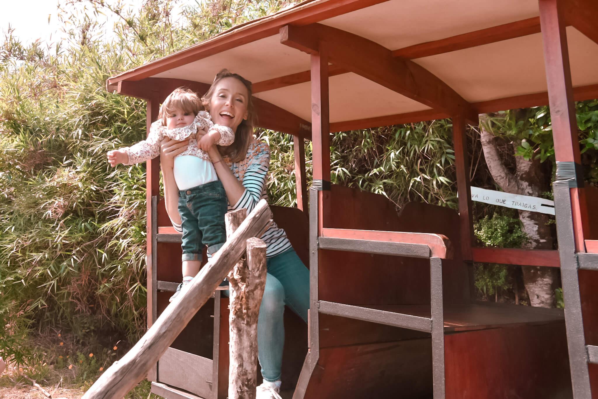 wooden train for children in Chile