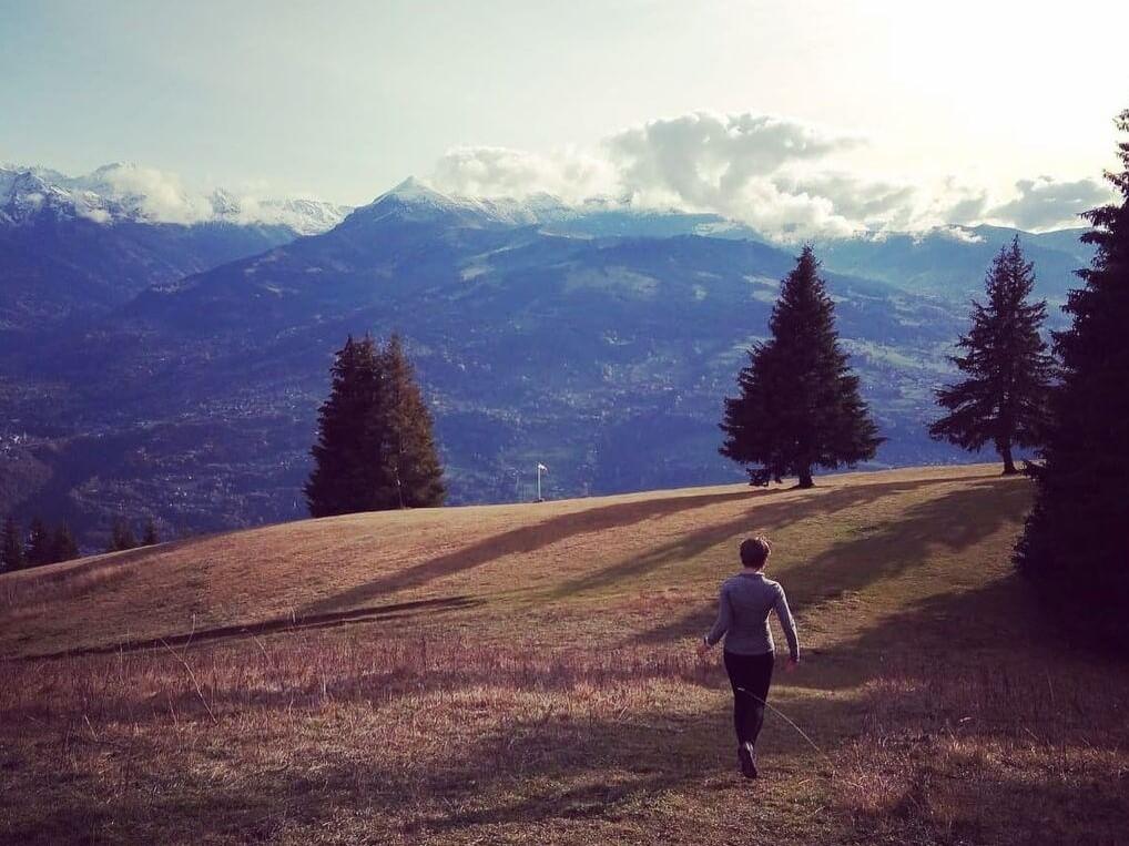 running alone woman